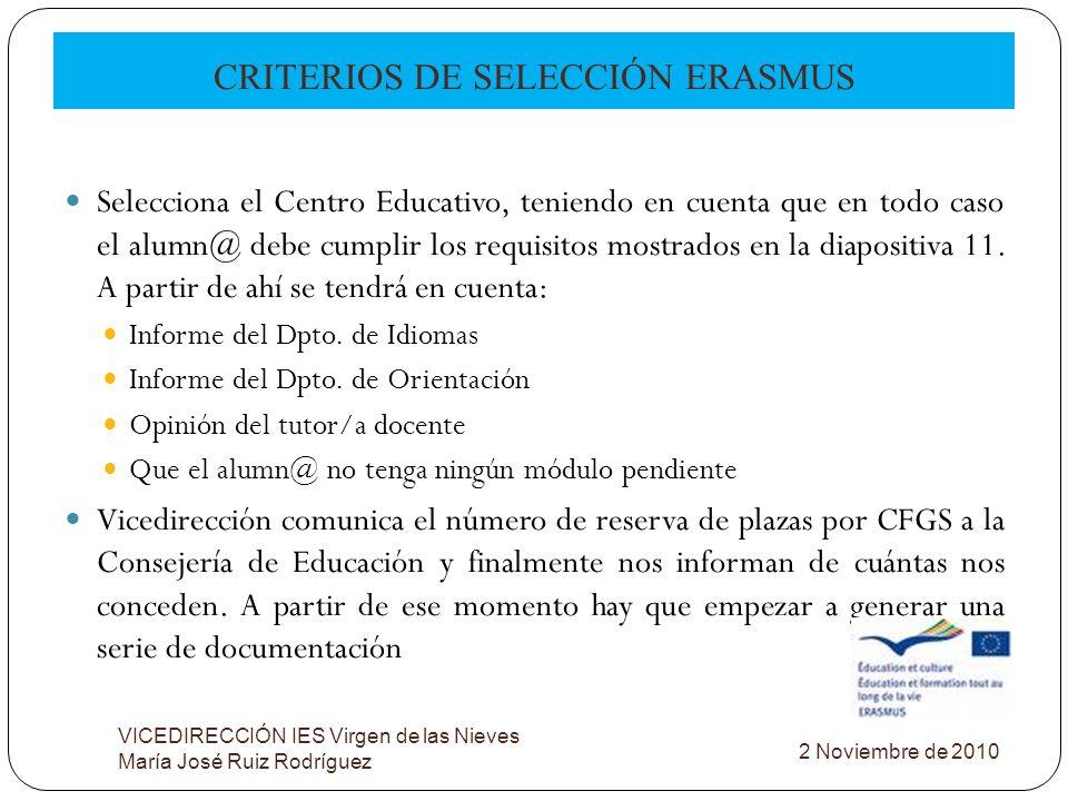 CRITERIOS DE SELECCIÓN ERASMUS VICEDIRECCIÓN IES Virgen de las Nieves María José Ruiz Rodríguez Selecciona el Centro Educativo, teniendo en cuenta que
