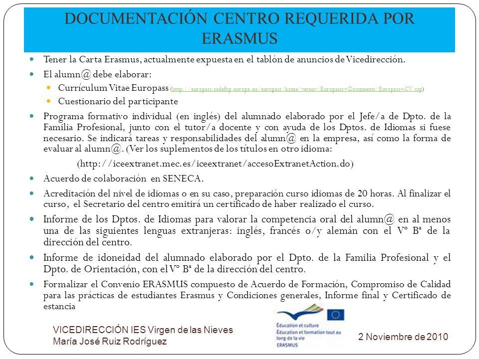 DOCUMENTACIÓN CENTRO REQUERIDA POR ERASMUS VICEDIRECCIÓN IES Virgen de las Nieves María José Ruiz Rodríguez Tener la Carta Erasmus, actualmente expues