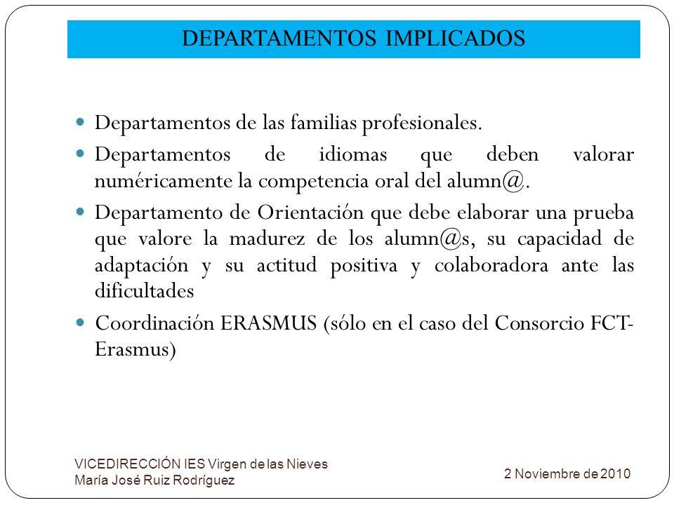 DEPARTAMENTOS IMPLICADOS VICEDIRECCIÓN IES Virgen de las Nieves María José Ruiz Rodríguez Departamentos de las familias profesionales. Departamentos d