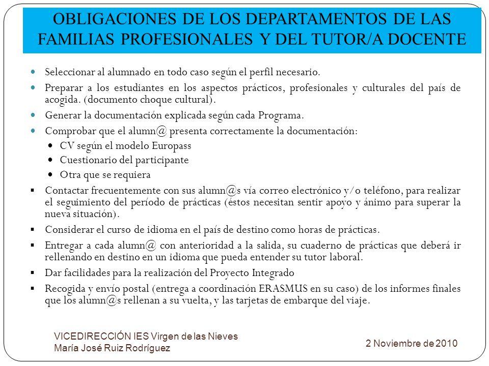 OBLIGACIONES DE LOS DEPARTAMENTOS DE LAS FAMILIAS PROFESIONALES Y DEL TUTOR/A DOCENTE VICEDIRECCIÓN IES Virgen de las Nieves María José Ruiz Rodríguez