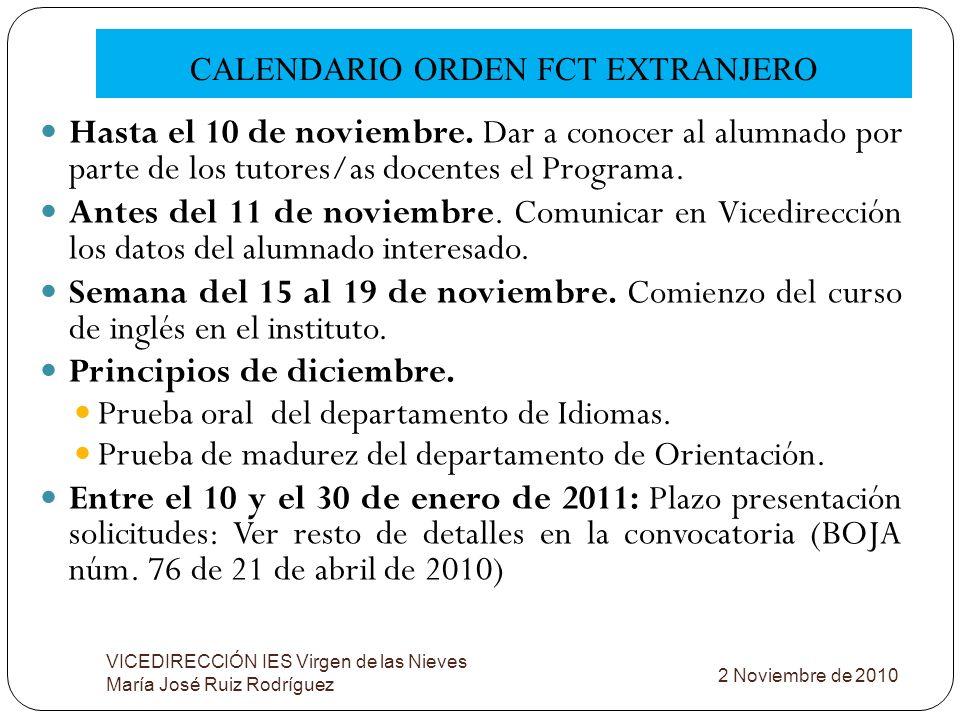 CALENDARIO ORDEN FCT EXTRANJERO VICEDIRECCIÓN IES Virgen de las Nieves María José Ruiz Rodríguez Hasta el 10 de noviembre. Dar a conocer al alumnado p