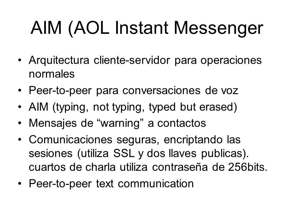 AIM (AOL Instant Messenger Arquitectura cliente-servidor para operaciones normales Peer-to-peer para conversaciones de voz AIM (typing, not typing, ty