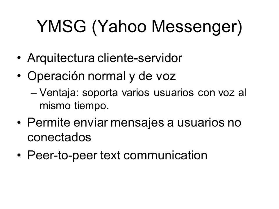 YMSG (Yahoo Messenger) Arquitectura cliente-servidor Operación normal y de voz –Ventaja: soporta varios usuarios con voz al mismo tiempo. Permite envi