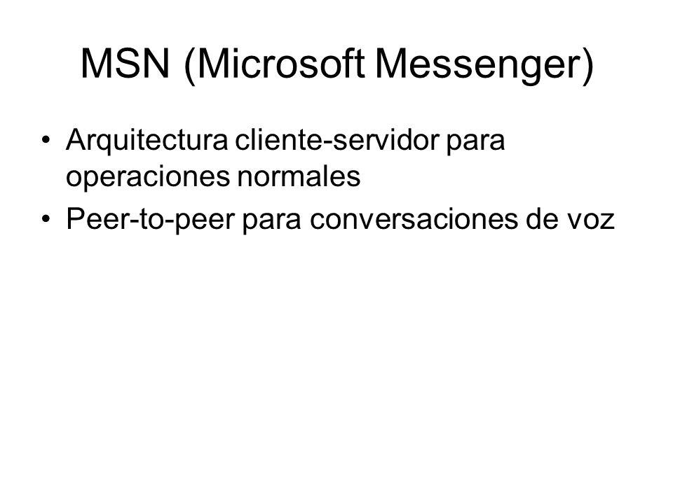 MSN (Microsoft Messenger) Arquitectura cliente-servidor para operaciones normales Peer-to-peer para conversaciones de voz
