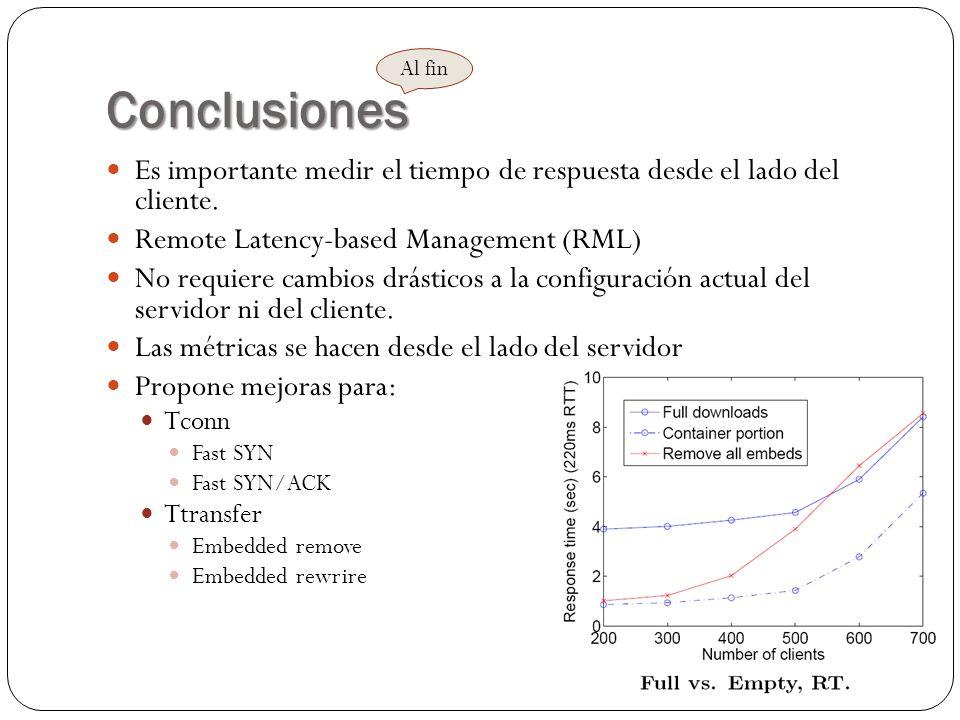 Conclusiones Es importante medir el tiempo de respuesta desde el lado del cliente. Remote Latency-based Management (RML) No requiere cambios drásticos