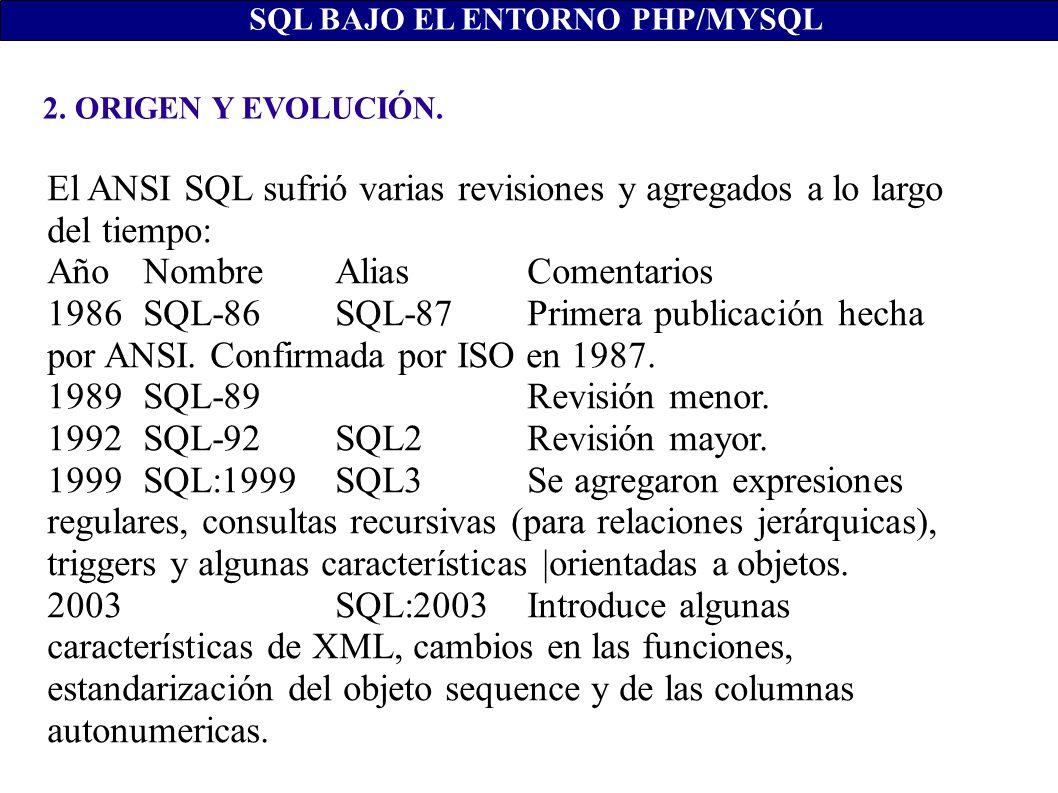 2. ORIGEN Y EVOLUCIÓN. SQL BAJO EL ENTORNO PHP/MYSQL El ANSI SQL sufrió varias revisiones y agregados a lo largo del tiempo: Año NombreAlias Comentari