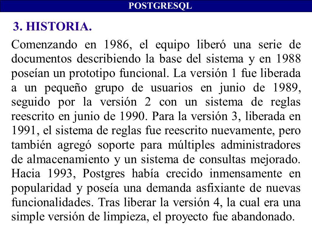 3. HISTORIA. POSTGRESQL Comenzando en 1986, el equipo liberó una serie de documentos describiendo la base del sistema y en 1988 poseían un prototipo f