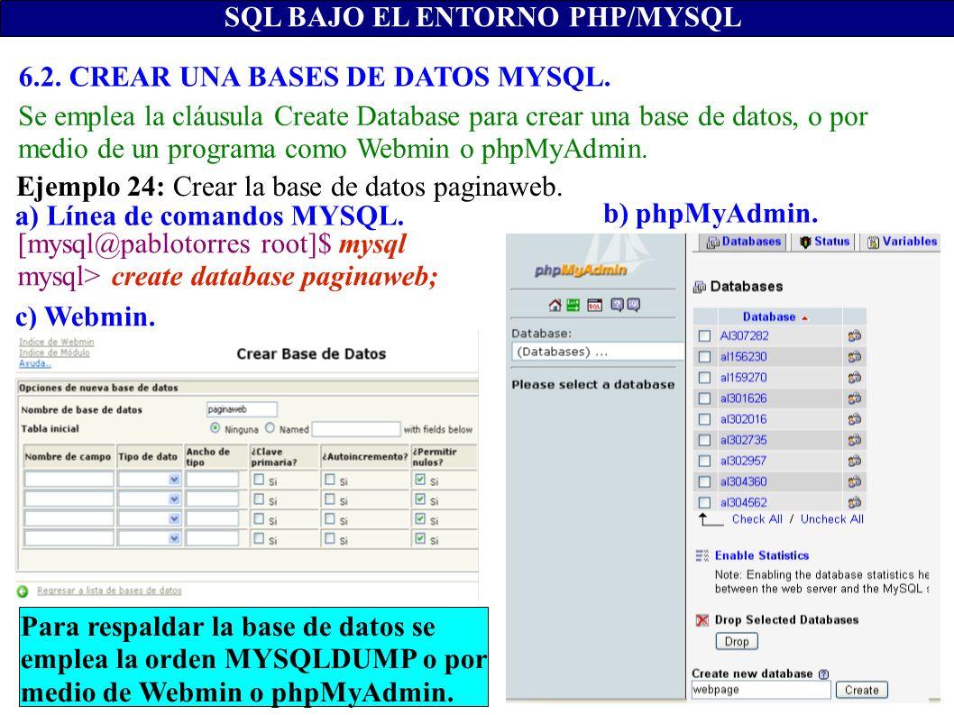 SQL BAJO EL ENTORNO PHP/MYSQL a) Línea de comandos MYSQL. b) phpMyAdmin. c) Webmin. [mysql@pablotorres root]$ mysql mysql> create database paginaweb;