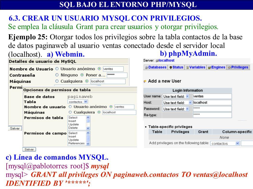 SQL BAJO EL ENTORNO PHP/MYSQL c) Línea de comandos MYSQL. b) phpMyAdmin. a) Webmin. [mysql@pablotorres root]$ mysql mysql> GRANT all privileges ON pag