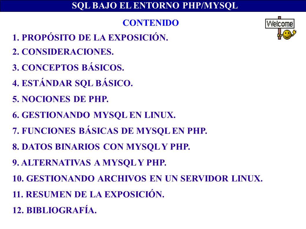 1. PROPÓSITO DE LA EXPOSICIÓN. 2. CONSIDERACIONES. 3. CONCEPTOS BÁSICOS. 4. ESTÁNDAR SQL BÁSICO. 5. NOCIONES DE PHP. 6. GESTIONANDO MYSQL EN LINUX. 7.