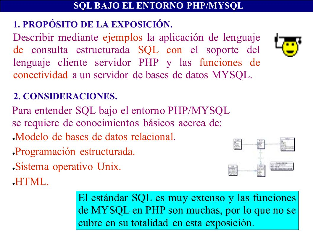 clave descripcion categoria fecha precio ------ ------------ --------- ---------- ------ 1 Filete carnes 01/01/01 100 2 Refresco bebidas 01/02/01 10 SQL BAJO EL ENTORNO PHP/MYSQL DELETE articulos.* FROM articulos WHERE fecha IN (SELECT a.fecha FROM articulos AS a) WHERE a.fecha>=TODAY()-7; UPDATE articulos SET precio = precio * 1.10 WHERE precio = (SELECT min(a.precio) FROM articulos AS a); Una subconsulta también puede emplearse en una cláusula Delete y Update.