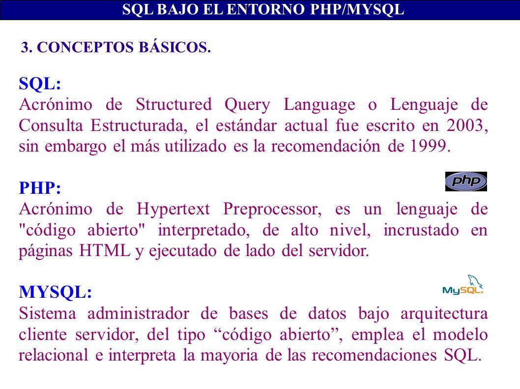 3. CONCEPTOS BÁSICOS. SQL BAJO EL ENTORNO PHP/MYSQL SQL: Acrónimo de Structured Query Language o Lenguaje de Consulta Estructurada, el estándar actual