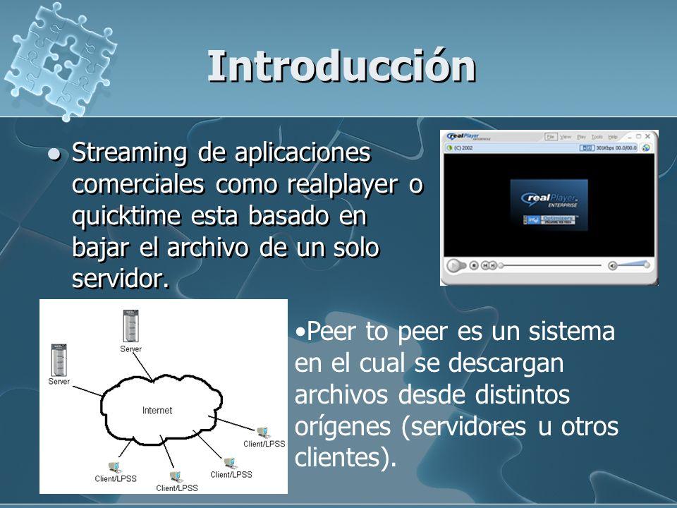 Introducción Streaming de aplicaciones comerciales como realplayer o quicktime esta basado en bajar el archivo de un solo servidor. Peer to peer es un