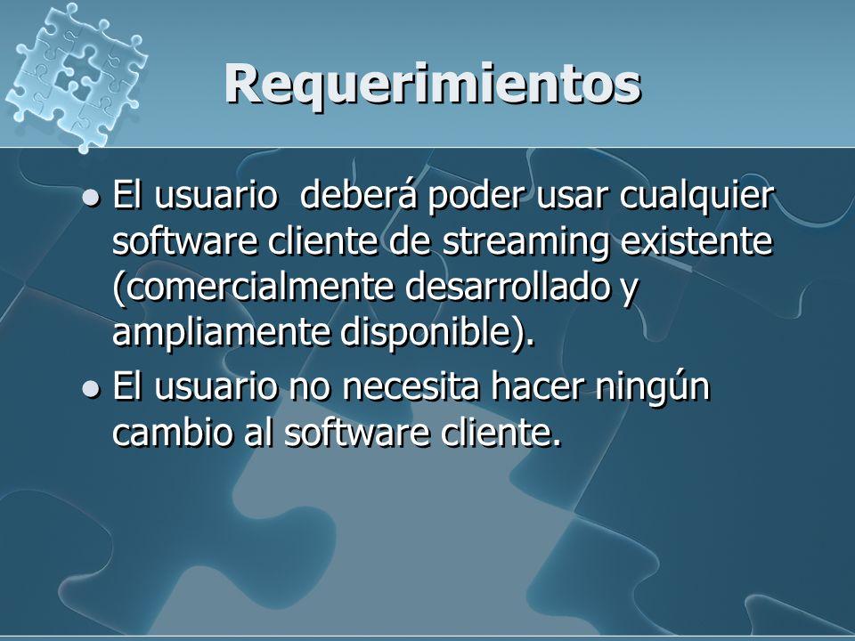 Requerimientos El usuario deberá poder usar cualquier software cliente de streaming existente (comercialmente desarrollado y ampliamente disponible).