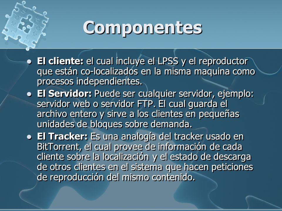 Componentes El cliente: el cual incluye el LPSS y el reproductor que están co-localizados en la misma maquina como procesos independientes. El Servido