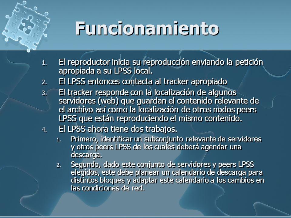 Funcionamiento 1. El reproductor inicia su reproducción enviando la petición apropiada a su LPSS local. 2. El LPSS entonces contacta al tracker apropi