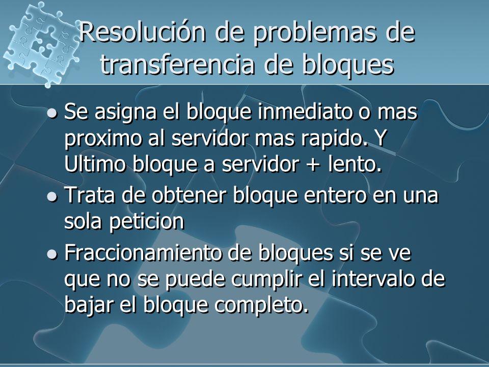 Resolución de problemas de transferencia de bloques Se asigna el bloque inmediato o mas proximo al servidor mas rapido. Y Ultimo bloque a servidor + l