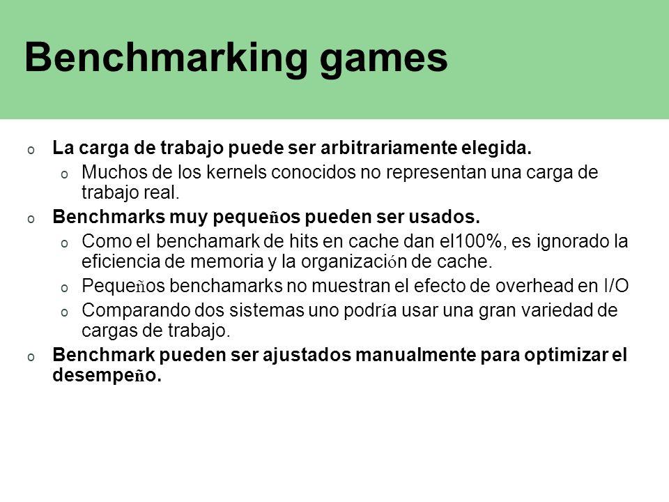 Benchmarking games o La carga de trabajo puede ser arbitrariamente elegida. o Muchos de los kernels conocidos no representan una carga de trabajo real