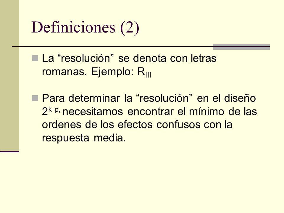 Definiciones (2) La resolución se denota con letras romanas. Ejemplo: R III Para determinar la resolución en el diseño 2 k-p, necesitamos encontrar el