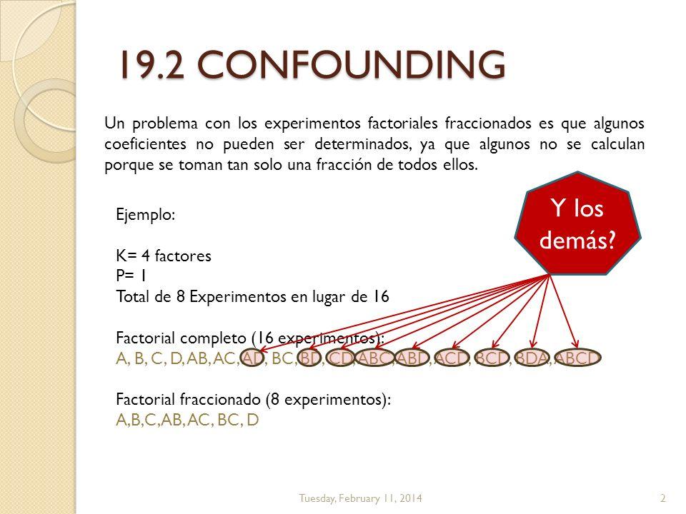 19.2 CONFOUNDING Tuesday, February 11, 2014 Un problema con los experimentos factoriales fraccionados es que algunos coeficientes no pueden ser determ