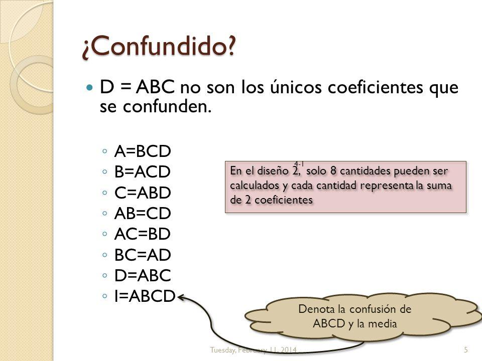 La confusión (Resumen) A=BCD B=ACD C=ABD AB=CD AC=BD BC=AD D=ABC I=ABCD Tuesday, February 11, 20146 La media (I) se confunde con una interacción de 4to orden Los coeficientes principales se confunden con interacciones de 3er orden