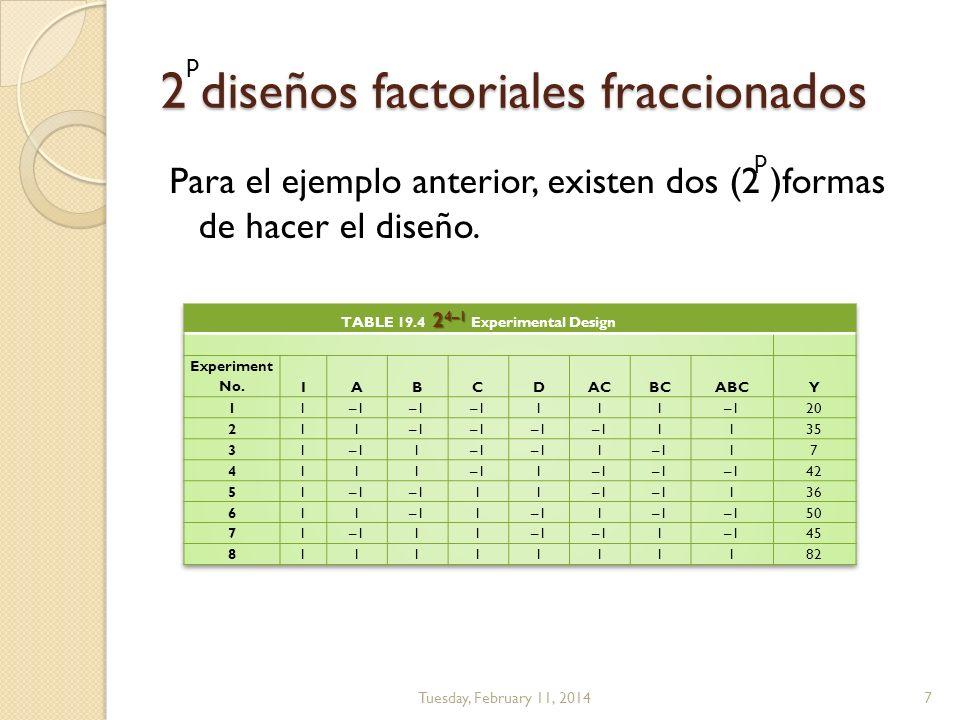 2 diseños factoriales fraccionados Para el ejemplo anterior, existen dos (2 )formas de hacer el diseño. Tuesday, February 11, 20147 p p