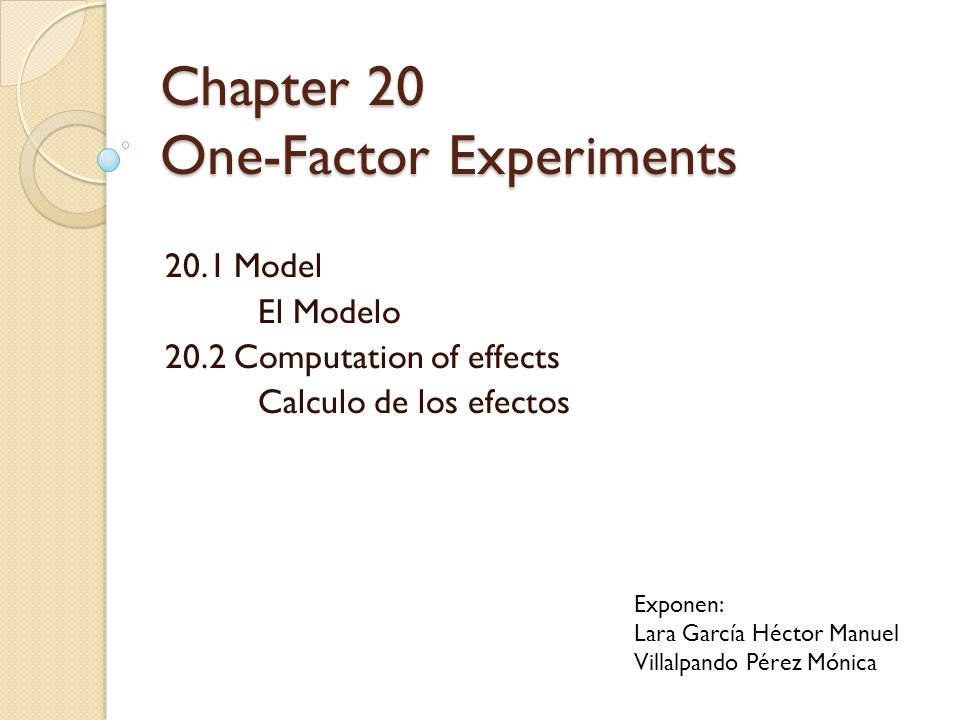 Chapter 20 One-Factor Experiments 20.1 Model El Modelo 20.2 Computation of effects Calculo de los efectos Exponen: Lara García Héctor Manuel Villalpan