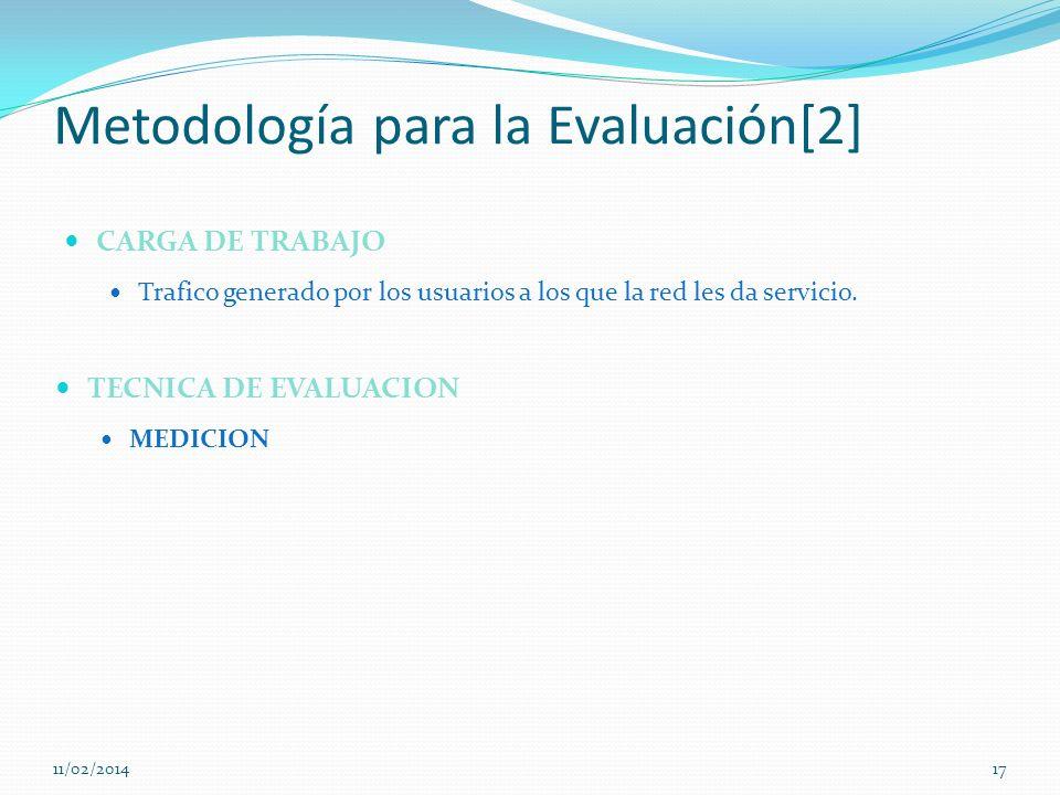 Metodología para la Evaluación[2] CARGA DE TRABAJO Trafico generado por los usuarios a los que la red les da servicio. 11/02/201417 TECNICA DE EVALUAC