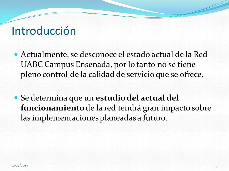 Introducción Actualmente, se desconoce el estado actual de la Red UABC Campus Ensenada, por lo tanto no se tiene pleno control de la calidad de servic