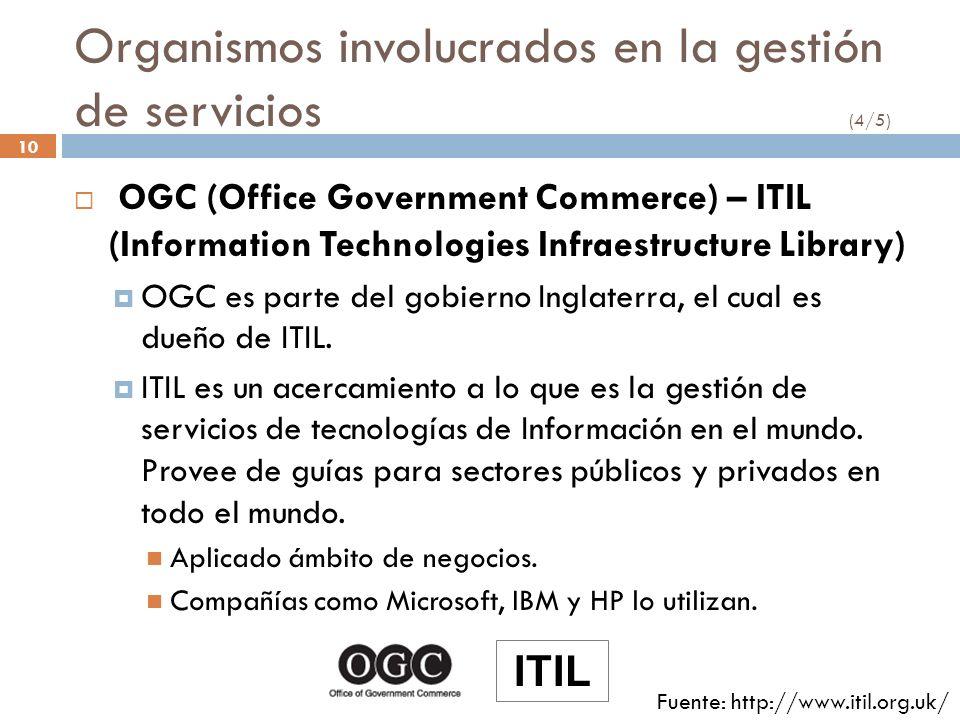 10 Organismos involucrados en la gestión de servicios (4/5) OGC (Office Government Commerce) – ITIL (Information Technologies Infraestructure Library)