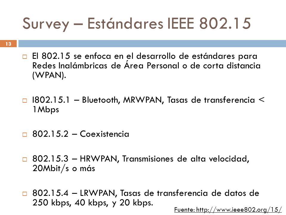13 Survey – Estándares IEEE 802.15 El 802.15 se enfoca en el desarrollo de estándares para Redes Inalámbricas de Área Personal o de corta distancia (W