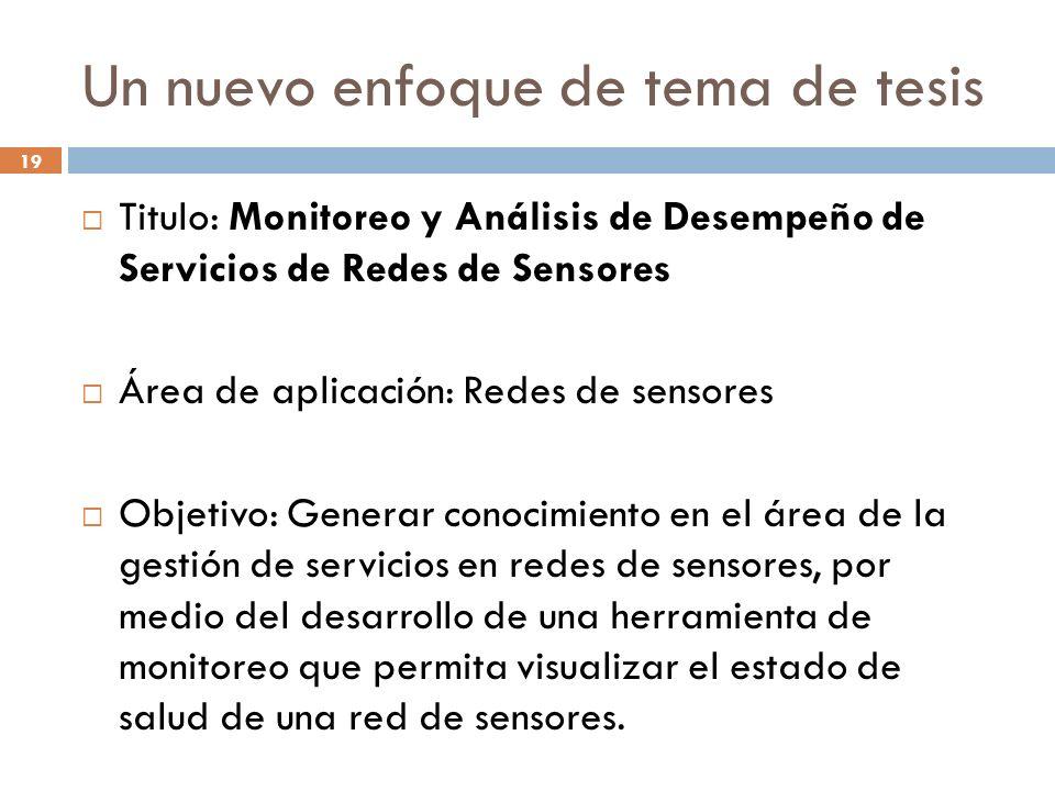 19 Un nuevo enfoque de tema de tesis Titulo: Monitoreo y Análisis de Desempeño de Servicios de Redes de Sensores Área de aplicación: Redes de sensores