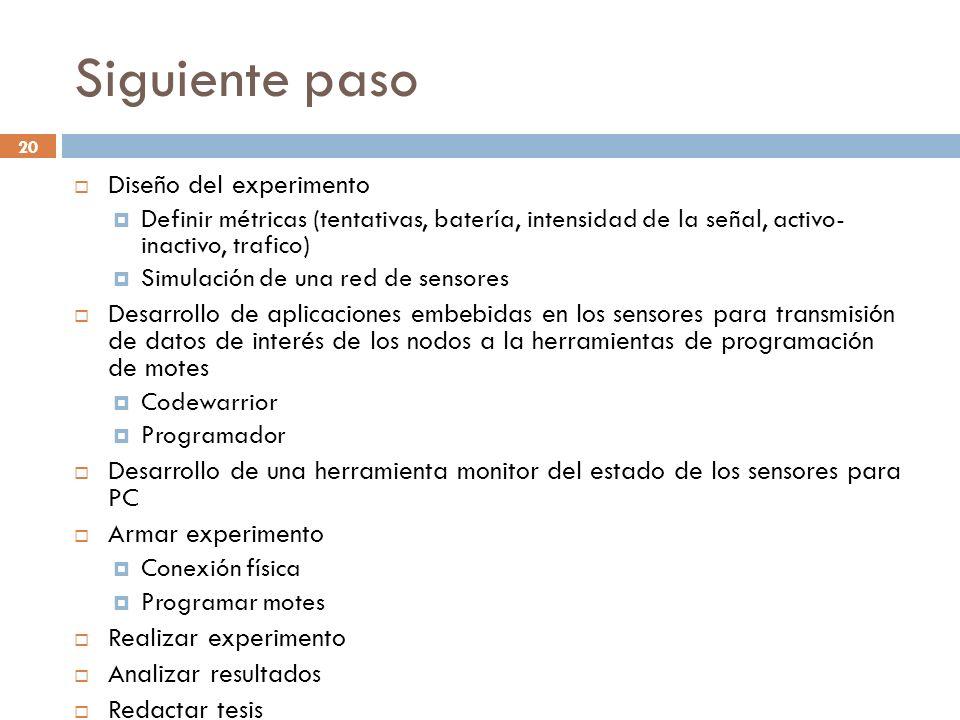 20 Siguiente paso Diseño del experimento Definir métricas (tentativas, batería, intensidad de la señal, activo- inactivo, trafico) Simulación de una r