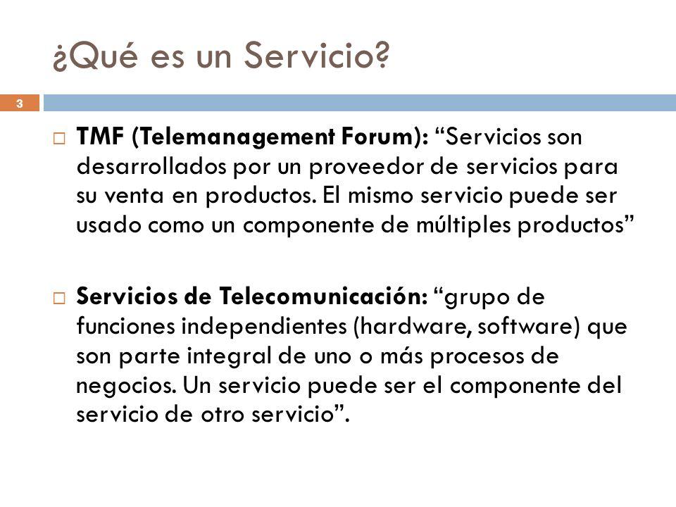 3 ¿Qué es un Servicio? TMF (Telemanagement Forum): Servicios son desarrollados por un proveedor de servicios para su venta en productos. El mismo serv