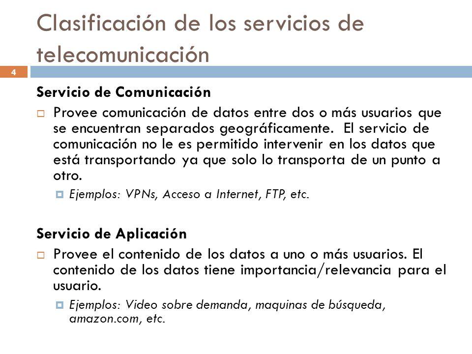 4 Clasificación de los servicios de telecomunicación Servicio de Comunicación Provee comunicación de datos entre dos o más usuarios que se encuentran