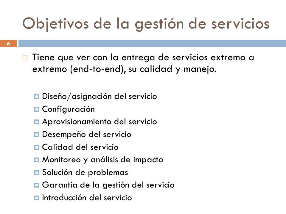 6 Objetivos de la gestión de servicios Tiene que ver con la entrega de servicios extremo a extremo (end-to-end), su calidad y manejo. Diseño/asignació