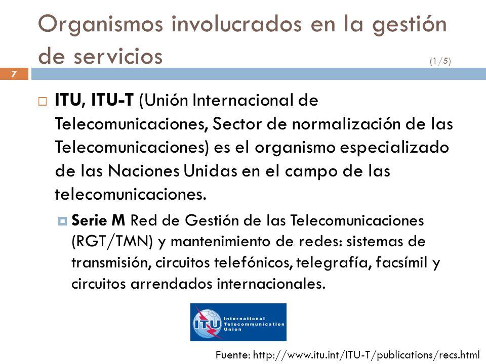 7 Organismos involucrados en la gestión de servicios (1/5) ITU, ITU-T (Unión Internacional de Telecomunicaciones, Sector de normalización de las Telec