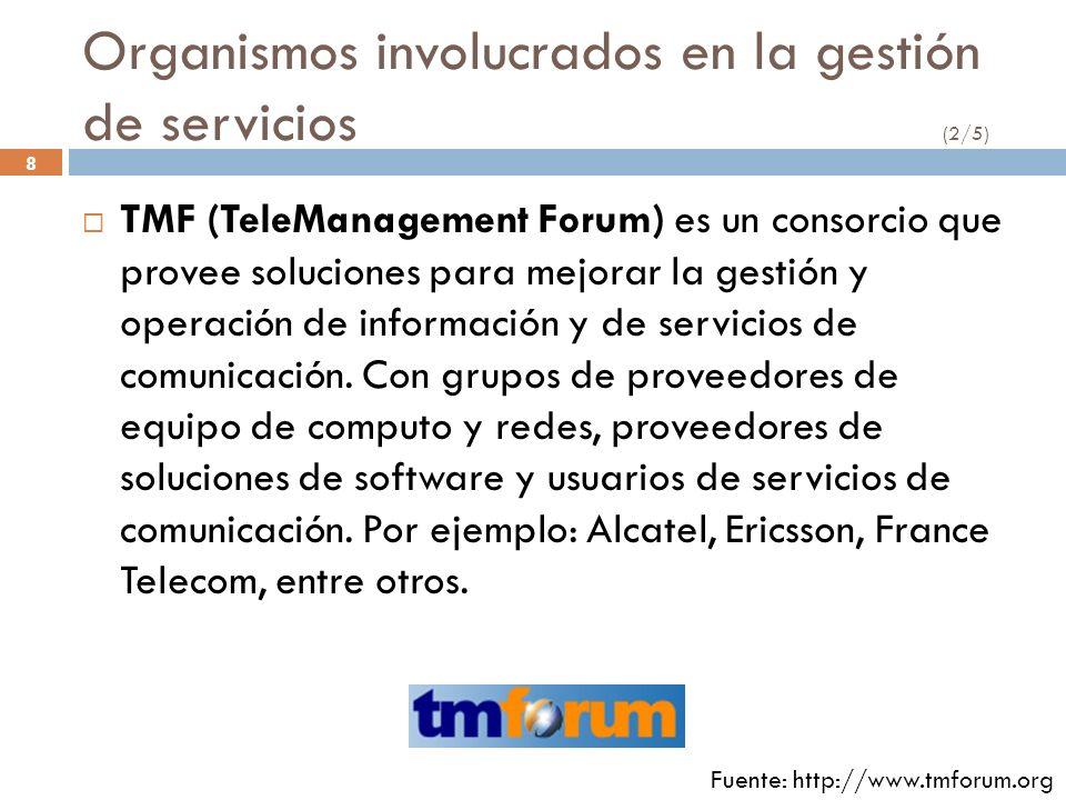 8 Organismos involucrados en la gestión de servicios (2/5) TMF (TeleManagement Forum) es un consorcio que provee soluciones para mejorar la gestión y