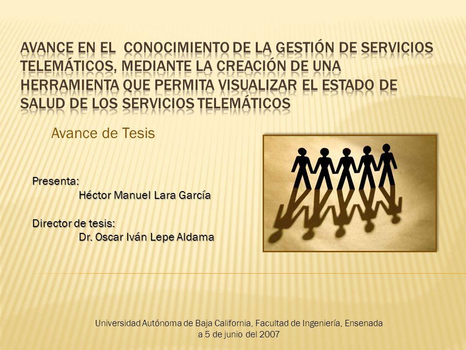 Avance de Tesis Presenta: Héctor Manuel Lara García Director de tesis: Dr. Oscar Iván Lepe Aldama Universidad Autónoma de Baja California, Facultad de