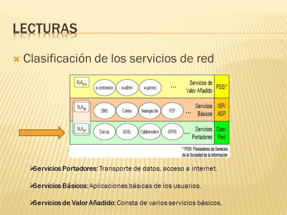 Clasificación de los servicios de red Servicios Portadores: Transporte de datos, acceso a internet. Servicios Básicos: Aplicaciones básicas de los usu