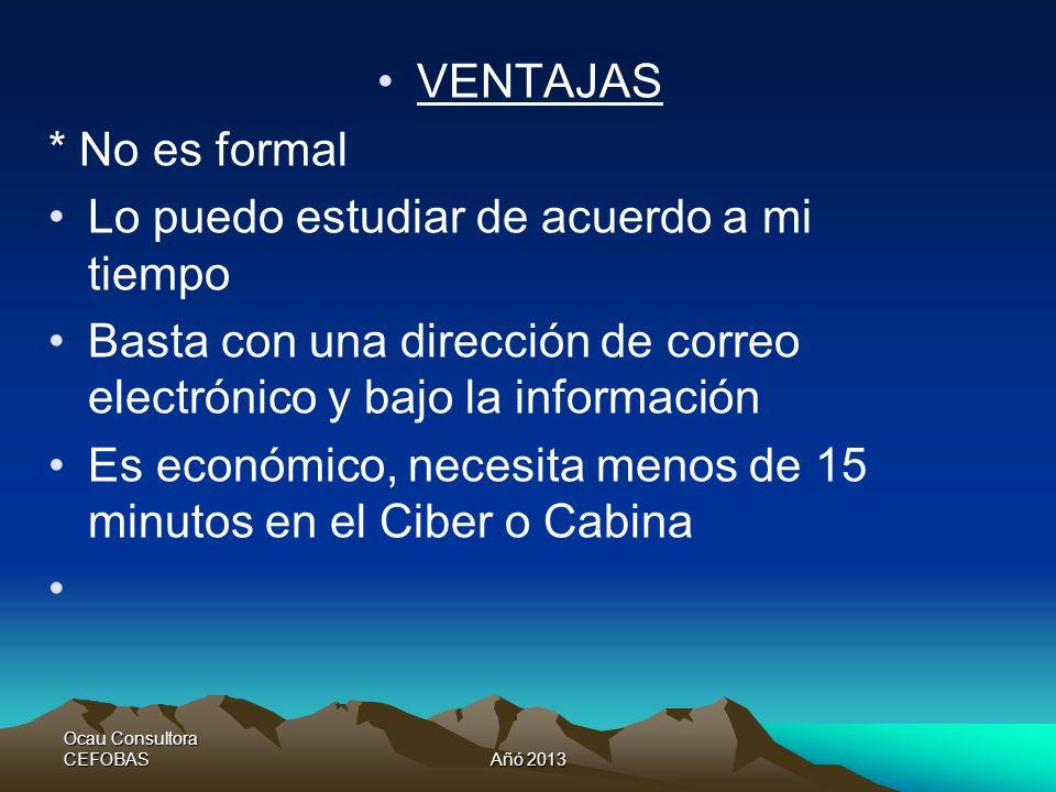 Ocau Consultora CEFOBASAño 2013 Objetivos suministrar a los diversos usuarios la solución para obtención de información relevante a partir de los diversos hechos contables que se dan en una empresa.