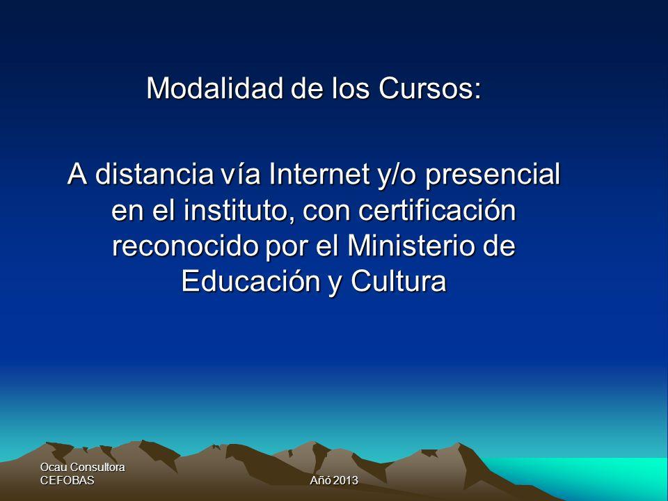 Ocau Consultora CEFOBASAñó 2013 Modalidad de los Cursos: A distancia vía Internet y/o presencial en el instituto, con certificación reconocido por el Ministerio de Educación y Cultura