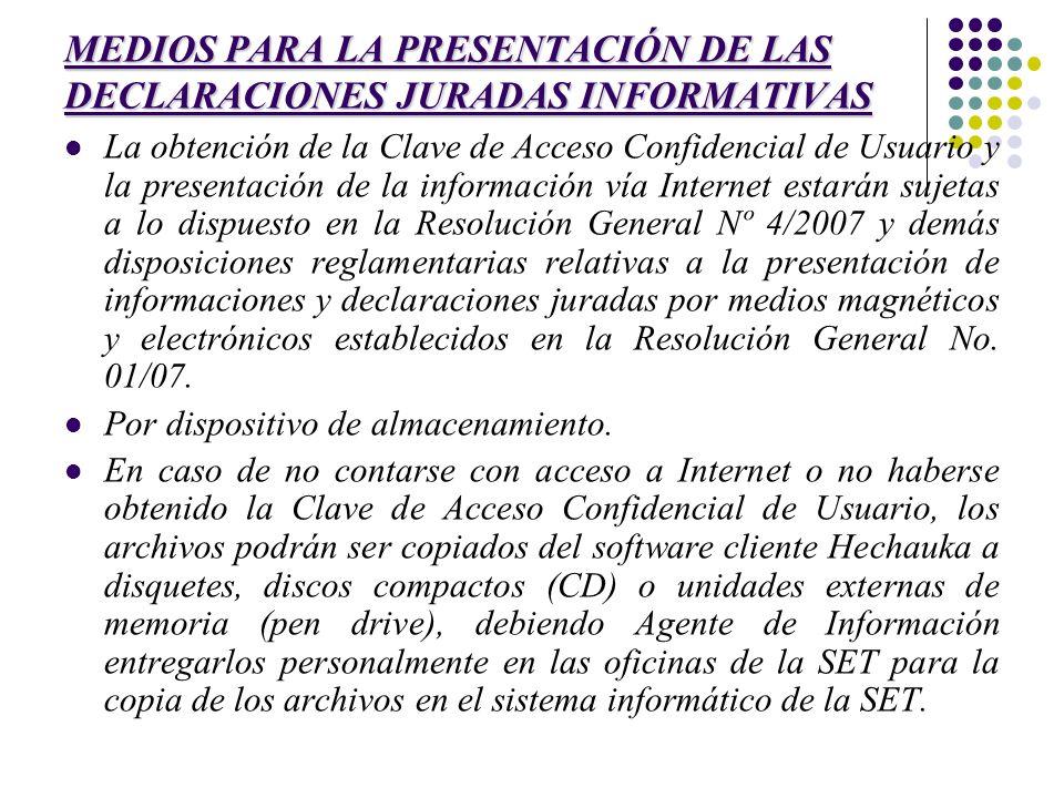 MEDIOS PARA LA PRESENTACIÓN DE LAS DECLARACIONES JURADAS INFORMATIVAS La obtención de la Clave de Acceso Confidencial de Usuario y la presentación de