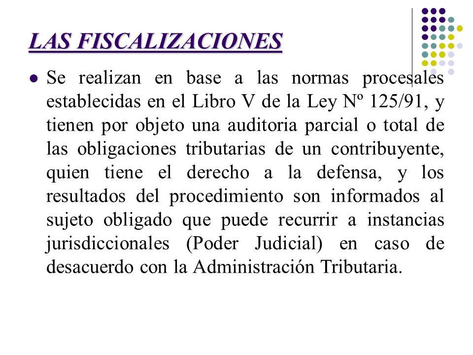 LAS FISCALIZACIONES Se realizan en base a las normas procesales establecidas en el Libro V de la Ley Nº 125/91, y tienen por objeto una auditoria parc