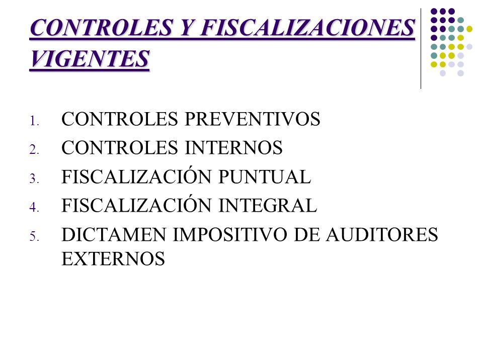 CONTROLES Y FISCALIZACIONES VIGENTES 1. CONTROLES PREVENTIVOS 2. CONTROLES INTERNOS 3. FISCALIZACIÓN PUNTUAL 4. FISCALIZACIÓN INTEGRAL 5. DICTAMEN IMP