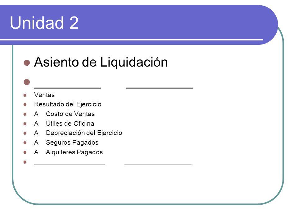 Unidad 2 Asiento de Liquidación _________ _________ Ventas Resultado del Ejercicio A Costo de Ventas A Útiles de Oficina A Depreciación del Ejercicio