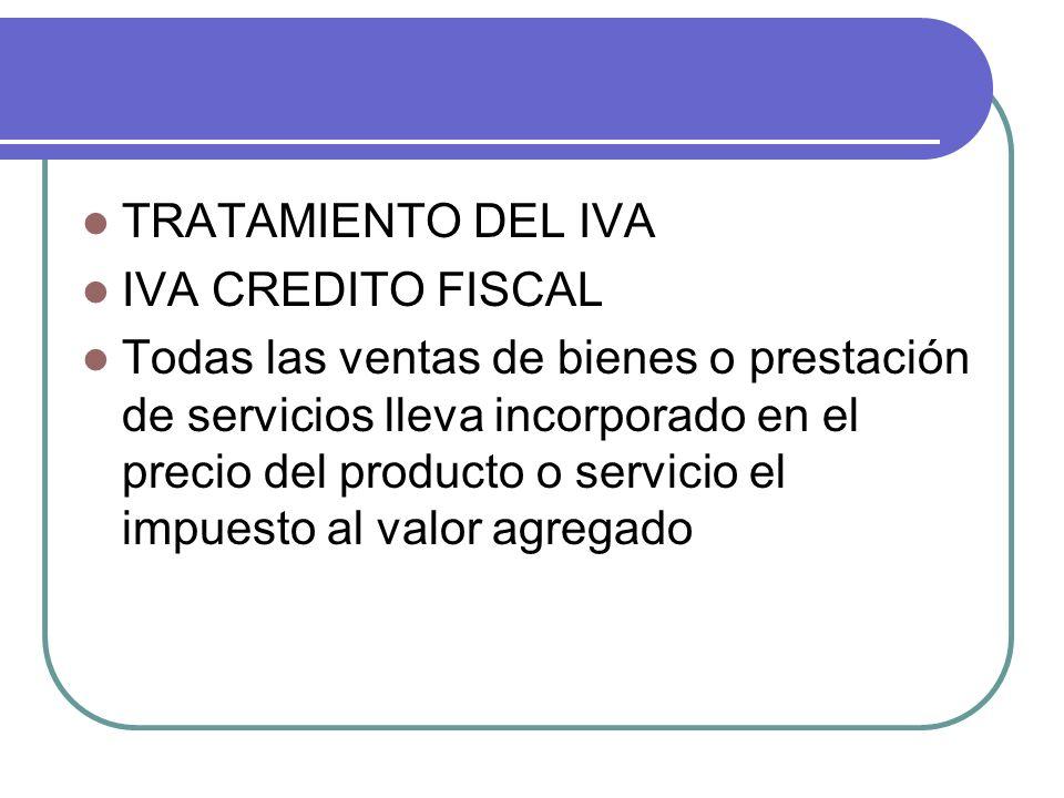 TRATAMIENTO DEL IVA IVA CREDITO FISCAL Todas las ventas de bienes o prestación de servicios lleva incorporado en el precio del producto o servicio el