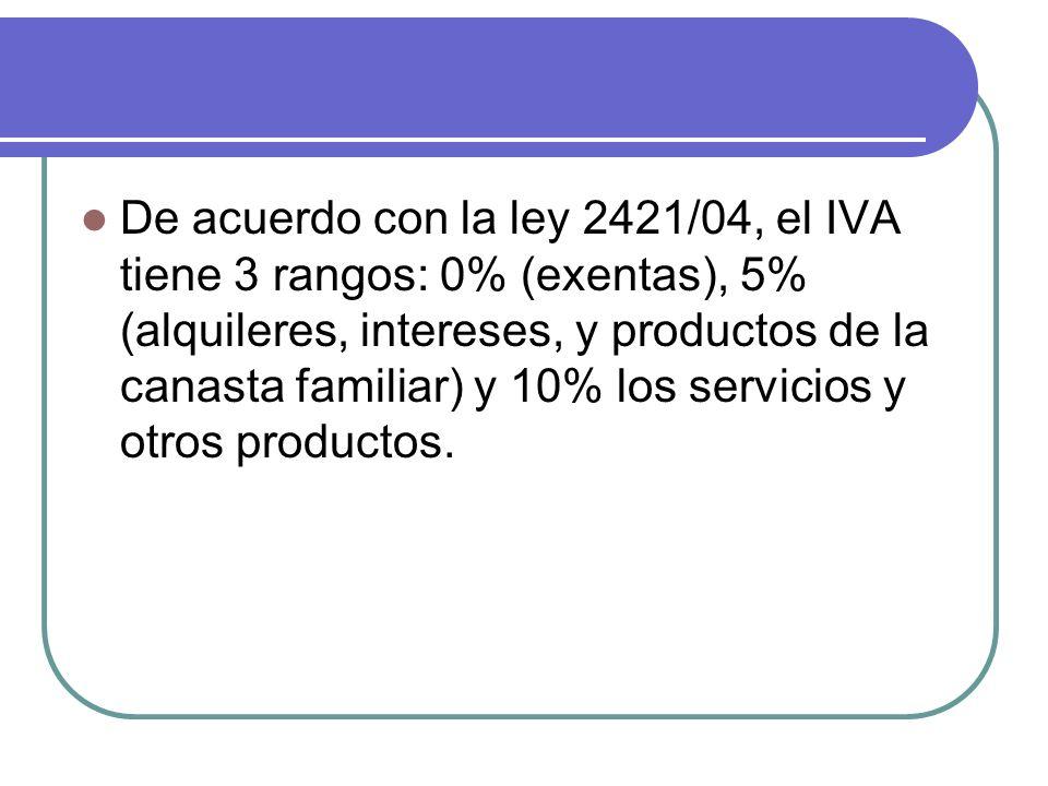 De acuerdo con la ley 2421/04, el IVA tiene 3 rangos: 0% (exentas), 5% (alquileres, intereses, y productos de la canasta familiar) y 10% los servicios