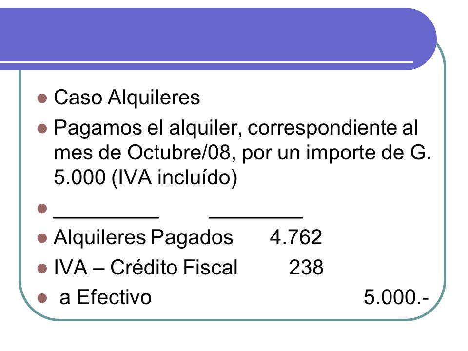 Caso Alquileres Pagamos el alquiler, correspondiente al mes de Octubre/08, por un importe de G. 5.000 (IVA incluído) _________ ________ Alquileres Pag
