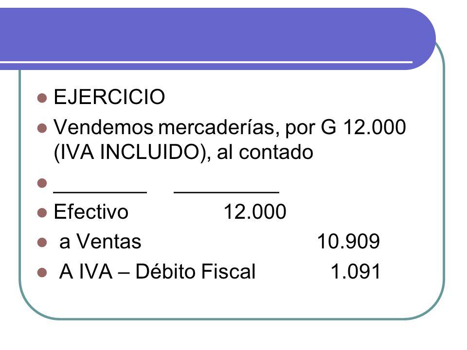 EJERCICIO Vendemos mercaderías, por G 12.000 (IVA INCLUIDO), al contado ________ _________ Efectivo12.000 a Ventas10.909 A IVA – Débito Fiscal 1.091